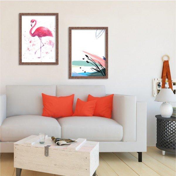Kit 2 Quadros Flamingo Aquarela Madeira