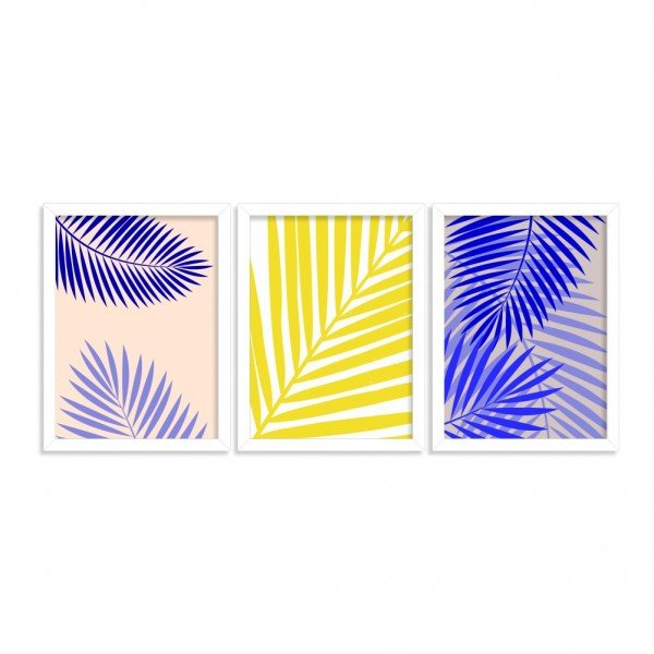 Kit 3 Quadros Tropical Abstrato Branca