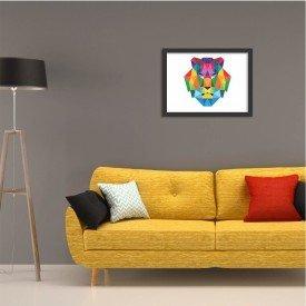 Quadro Leão Abstrato Colorido Preto