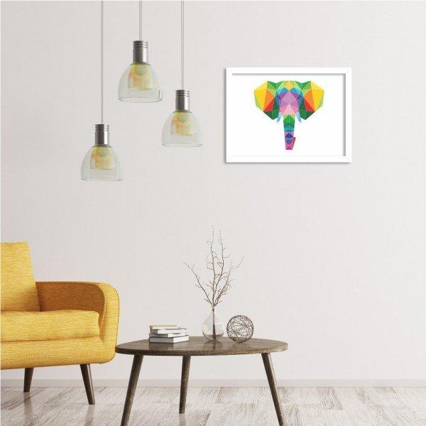 Quadro Elefante Abstrato Colorido Branco