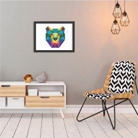 Quadro Urso Abstrato Colorido Preto