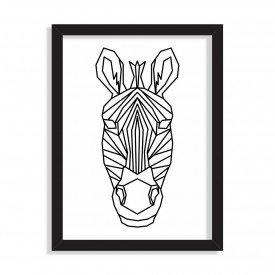 Quadro Line Drawing Zebra Preto