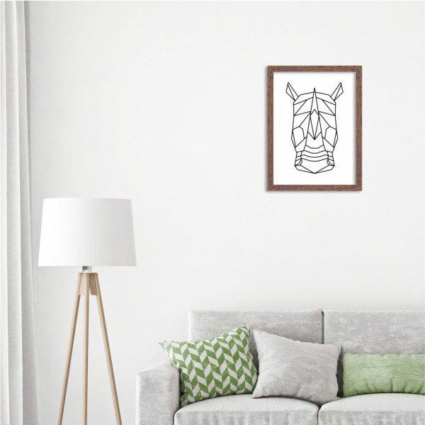 Quadro Line Drawing Rinoceronte Madeira