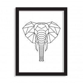 Quadro Line Drawing Elefante Preto