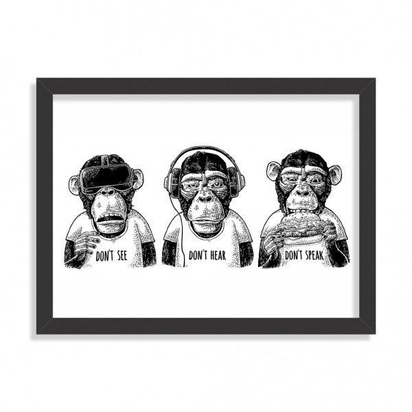 Quadro Mizaru Três Macacos Preto