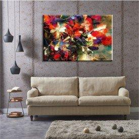 Tela Flores Vermelhas Abstrato