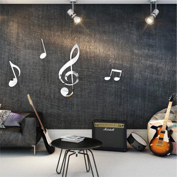 Acrílico Espelhado Notas Musicais
