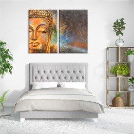 Kit 2 Telas Canvas Buda Hindu Dourado
