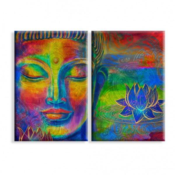 Kit 2 Telas Canvas Buda Hindu Abstrato