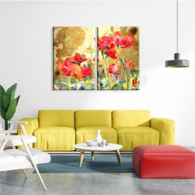Kit 2 Telas Canvas Flores do Campo Abstratas