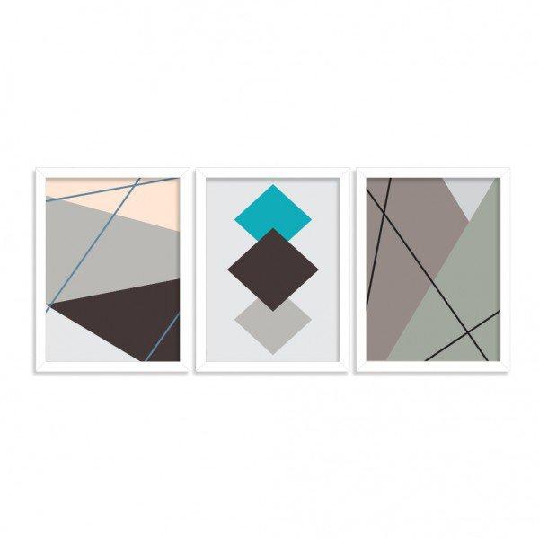 Kit 3 Quadros Moderno Geométrico Branco