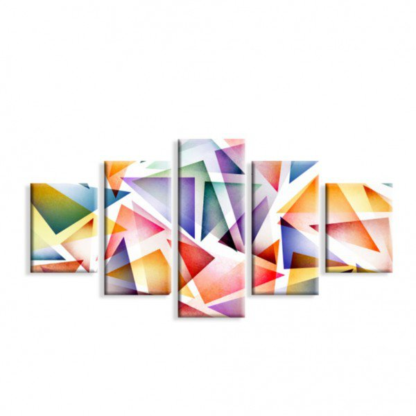 Kit 5 Telas Canvas Geométrico Multicolor