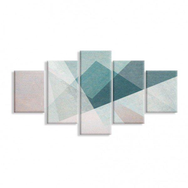 Kit 5 Telas Canvas Geométrico Triangular Escandinavo