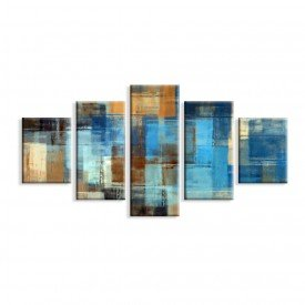 Kit 5 Telas Canvas Abstrato Azul Madeira