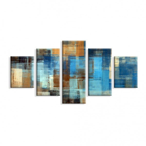 Kit 5 Telas Canvas Abstrato Azul Madeira
