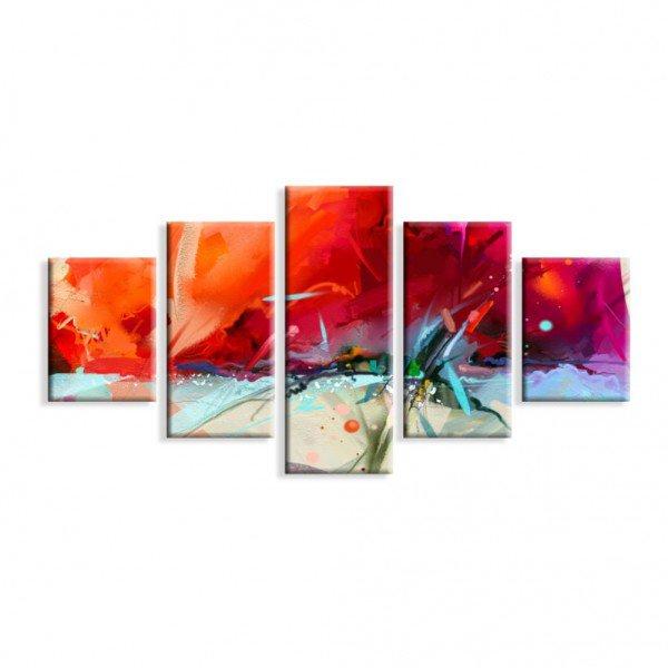 Kit 5 Telas Canvas Pintura Abstrato Vermelho
