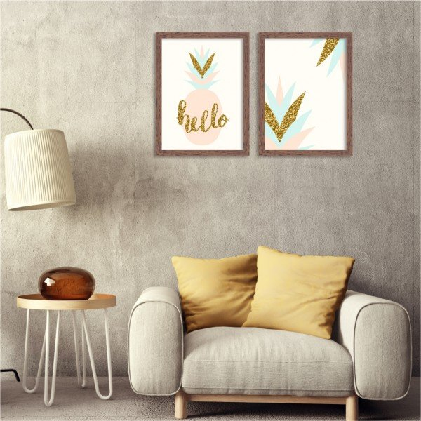 Kit 2 Quadros Decorativos Pineapple Geométrico Madeira