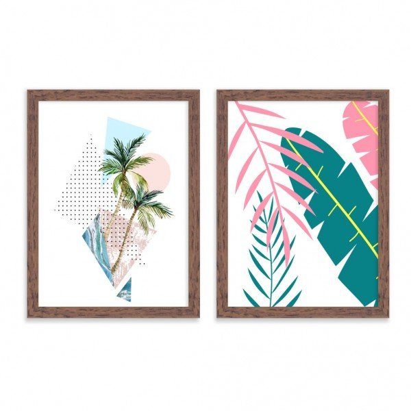 Kit 2 Quadros Decorativos Escandinavos Tropical Madeira