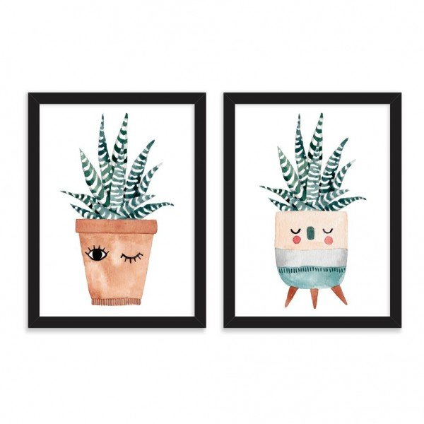 Kit 2 Quadros Decorativos Happy Friends Vase Preto