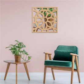 Acrílico Espelhado em Madeira Mandala Abstrato