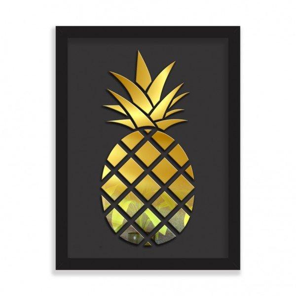 Quadro Decorativo em Relevo Espelhado Abacaxi Dourado Preto