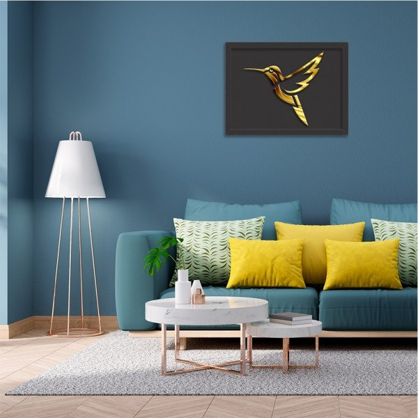 Quadro Decorativo em Relevo Espelhado Beija-Flor Dourado Preto