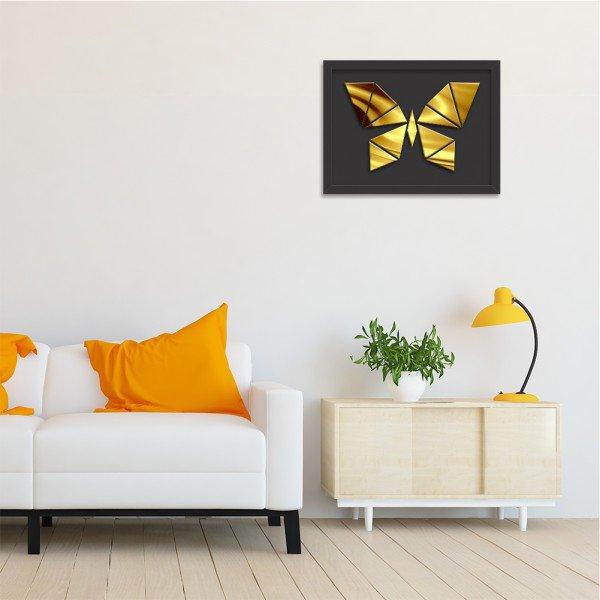 Quadro Decorativo em Relevo Espelhado Borboleta Dourada Preto