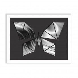 Quadro Decorativo em Relevo Espelhado Borboleta Prateada Branco