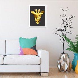 Quadro Decorativo em Relevo Espelhado Zebra Dourada Branco