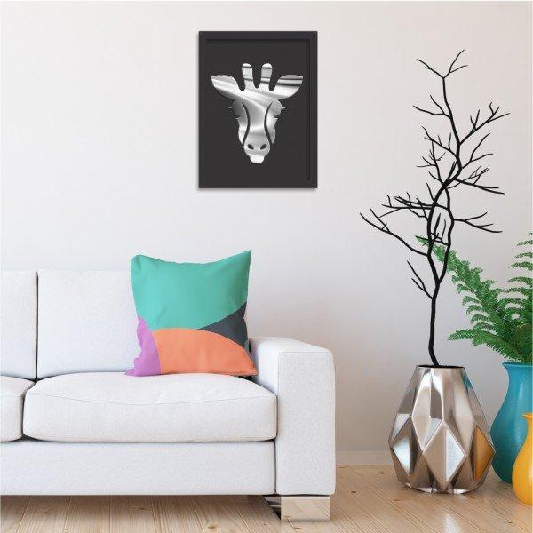 Quadro Decorativo em Relevo Espelhado Zebra Prateada Preto
