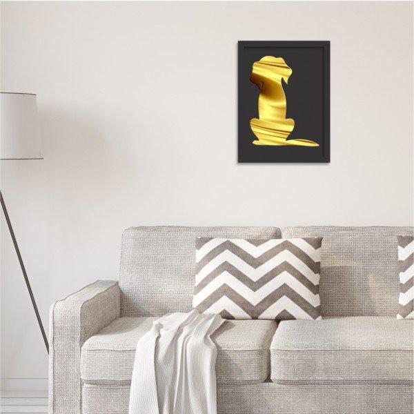 Quadro Decorativo em Relevo Espelhado Cachorro Dourado Preto