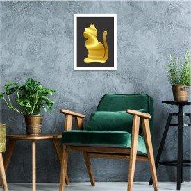 Quadro Decorativo em Relevo Espelhado Gato Dourado Branco