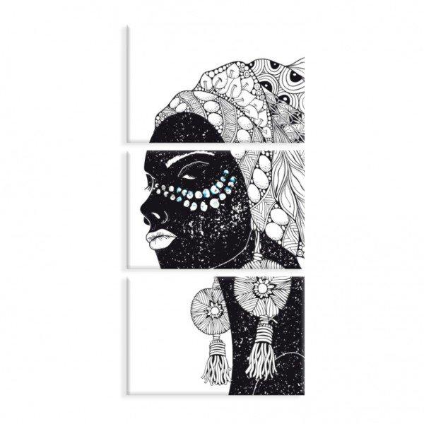Kit 3 Telas Canvas Cultura Beauty African