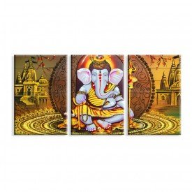 Kit 3 Telas Canvas Ganesha em Ouro