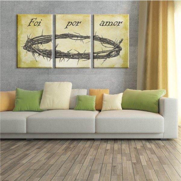 Kit 3 Telas Canvas Religião Coroa de Espinhos de Jesus