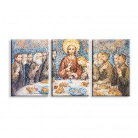 Kit 3 Telas Canvas Religião Santa Ceia