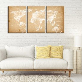Kit 3 Telas Canvas Mapa Line Drawing