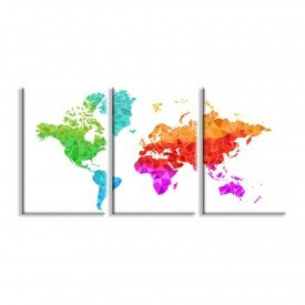 Kit 3 Telas Canvas Mapa Geométrico Colorido