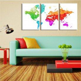 Kit 3 Telas Canvas Mapa Geométrico Colorido