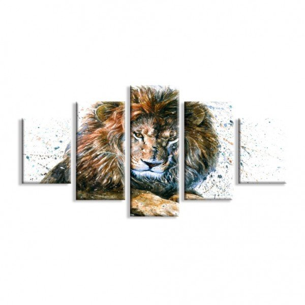 Kit 5 Telas Canvas Leão em Pintura