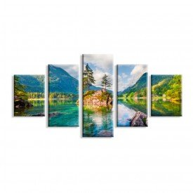 Kit 5 Telas Canvas Lago do Bosque