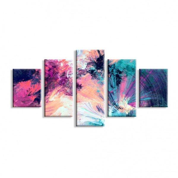 Kit 5 Telas Canvas Pintura Abstrata Moderna