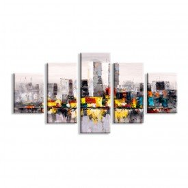 Kit 5 Telas Canvas Manhattan Abtrato