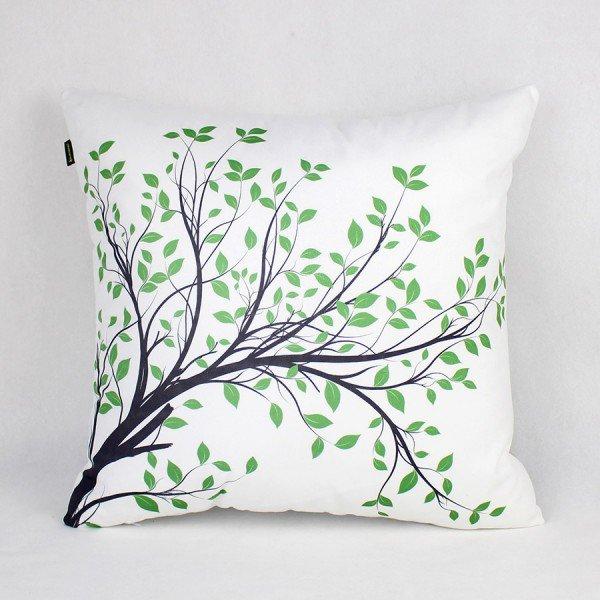 Almofada Ametista Branca Folhas Verde