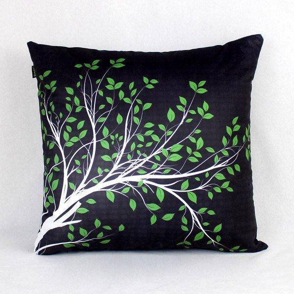 Almofada Ametista Preta Folhas Verde