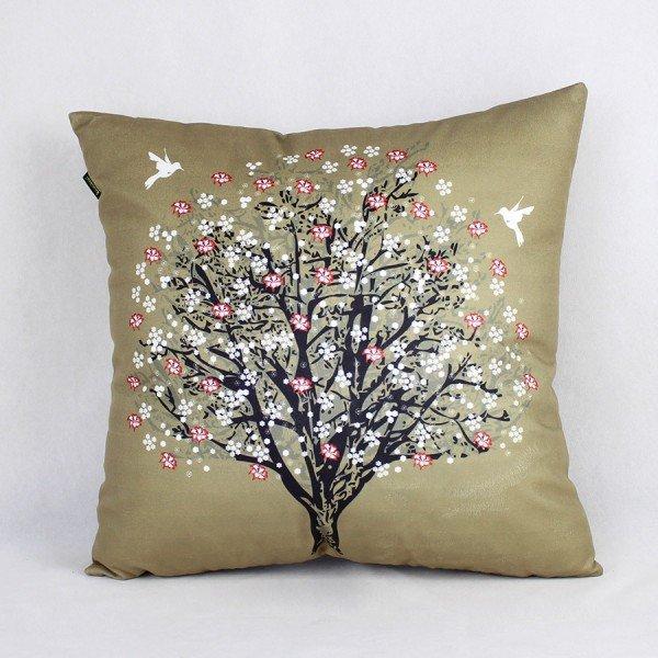 Almofada Ametista Marrom Árvore Beija-Flor