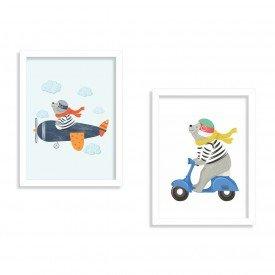 Kit 2 Quadros Infantil Urso Piloto Branco