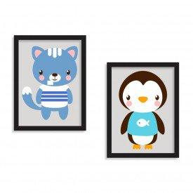 Kit 2 Quadros Infantil Cute Friends Preto