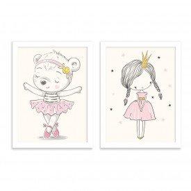 Kit 2 Quadros Infantil Bailarina e Princesa Branco