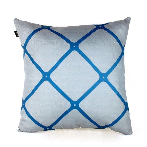 Almofada Georgia Cinza Grade Azul